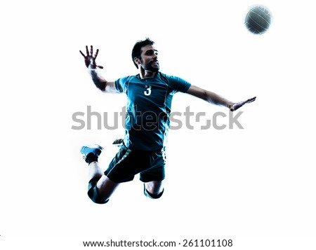 one caucasian man volleyball jumping in studio silhouette isolated on white background in studio silhouette isolated on white background - stock photo