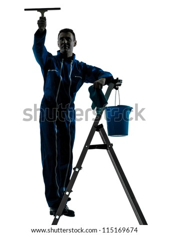 one caucasian man window cleaner  worker silhouette in studio on white background - stock photo