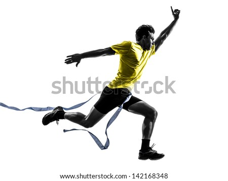 one caucasian man young sprinter runner running  winner at finish line  in silhouette studio  on white background