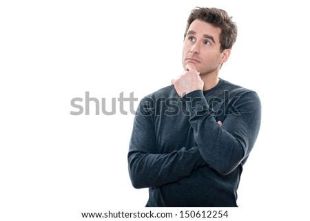 one caucasian mature portrait thinking anxious looking up studio  white background - stock photo