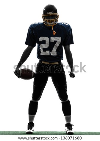 one caucasian quarterback american football player man in silhouette studio isolated on white background - stock photo
