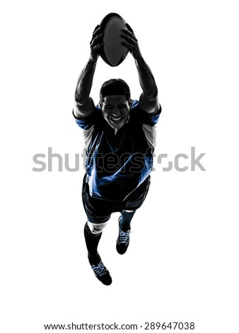 one caucasian rugby man player  in studio  silhouette isolated on white background - stock photo