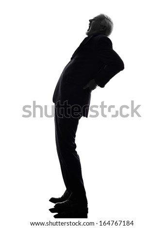 One Caucasian Senior Business Man backache pain Silhouette White Background