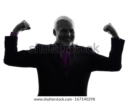 One Caucasian senior business man flexing muscles strong silhouette White Background - stock photo