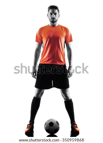 one caucasian Soccer player Man in silhouette isolated on white backgound - stock photo