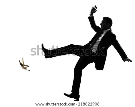 one caucasian unlucky carefree business man in silhouette on white background - stock photo