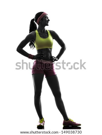 one caucasian woman exercising fitness  standing looking away   in silhouette on white background - stock photo