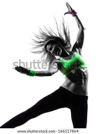 one caucasian woman exercising fitness zumba dancing in silhouette on white background - stock photo