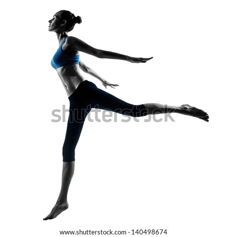 one caucasian woman exercising jumping stretching dancing in silhouette studio isolated on white background - stock photo
