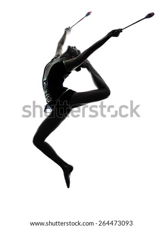 One caucasian woman exercising rhythmic gymnastics with ribbon in - Rhythmic Gymnastics Stock Images Royalty Free Images