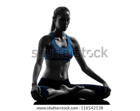one caucasian woman exercising yoga meditating in silhouette studio isolated on white background - stock photo
