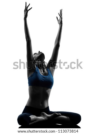 one caucasian woman exercising yoga meditating sitting stretching in silhouette studio isolated on white background - stock photo