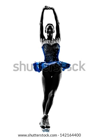 one caucasian woman  ice skater skating  in silhouette  on white background