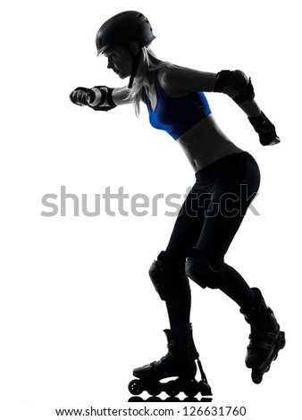 one caucasian woman in roller skates  silhouette studio isolated on white background