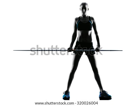 one  caucasian woman Javelin thrower in silhouette isolated white background - stock photo