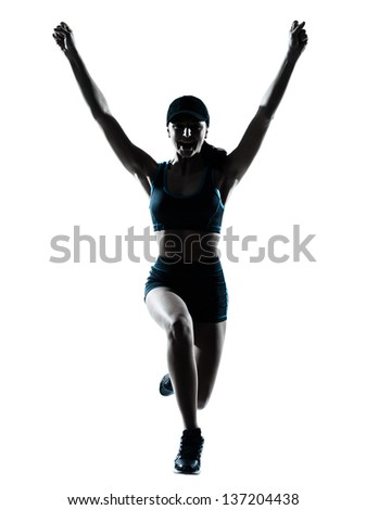one caucasian woman runner jogger jumping happy jumping in silhouette studio isolated on white background - stock photo