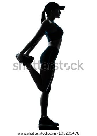 one caucasian woman runner jogger stretching legs in silhouette studio isolated on white background - stock photo