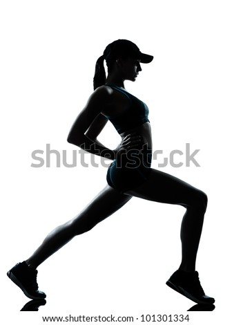 one caucasian woman runner jogger  stretching warm up in silhouette studio isolated on white background - stock photo