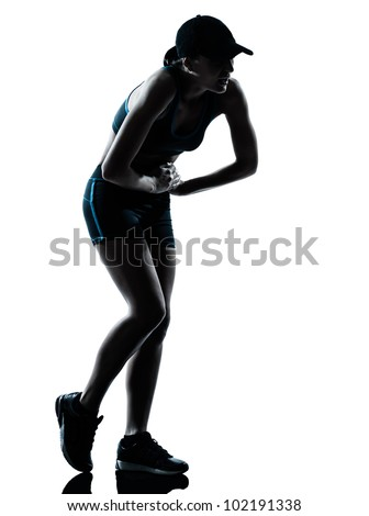 one caucasian woman runner jogger tired breathless in silhouette studio isolated on white background - stock photo