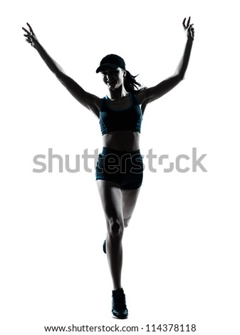 one caucasian woman runner jogger victorious in silhouette studio isolated on white background - stock photo