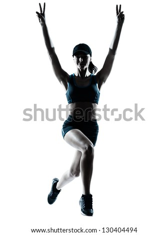 one caucasian woman runner jogger victorious jumping in silhouette studio isolated on white background - stock photo