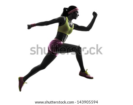one caucasian woman runner running jumping  in silhouette on white background - stock photo