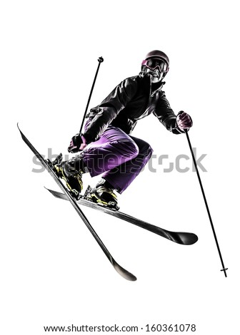 one caucasian woman skier freestyler  jumping in silhouette on white background - stock photo