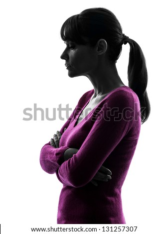 one caucasian woman thinking sadness in silhouette studio isolated on white background