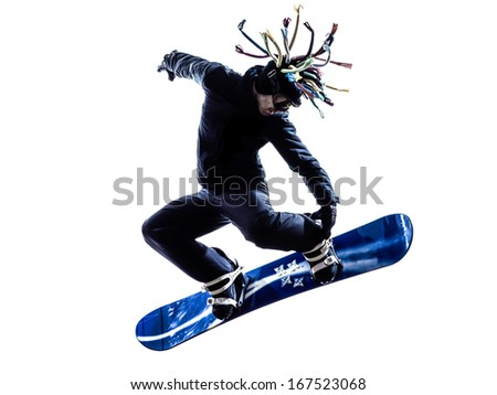 one caucasian young snowboarder  man in silhouette white background - stock photo