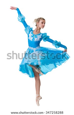 one caucasian young woman ballerina ballet dancer dancing, isolated in full body on white background - stock photo