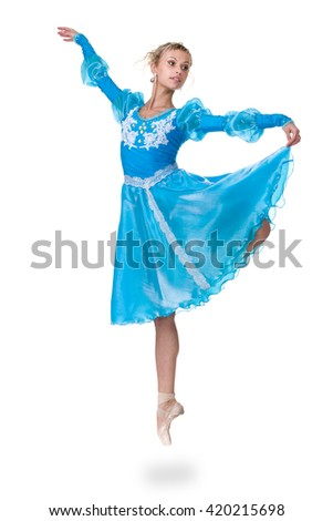 one caucasian young woman ballerina ballet dancer jumping, isolated in full body on white background - stock photo