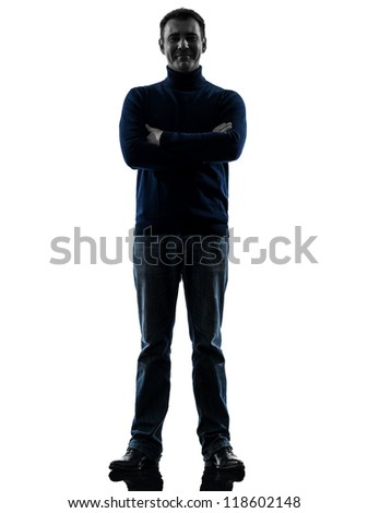 one causasian man full length in silhouette studio isolated on white background - stock photo