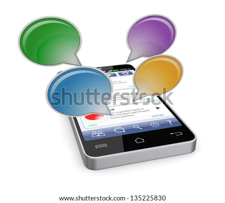 one cell phone with a chat application and text balloons (3d render) - stock photo
