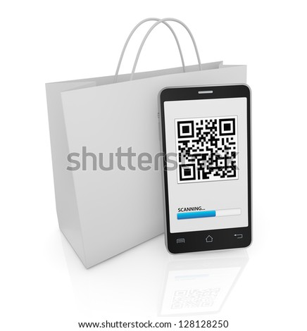 one cell phone with a qr code on display and a shopping bag (3d render) - stock photo