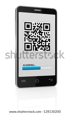 one cell phone with a qr code on display (3d render) - stock photo