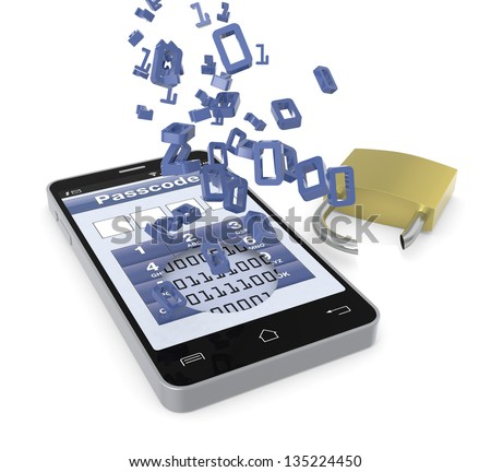 one cell phone with a security application and a broken padlock; concept of stealing data (3d render) - stock photo