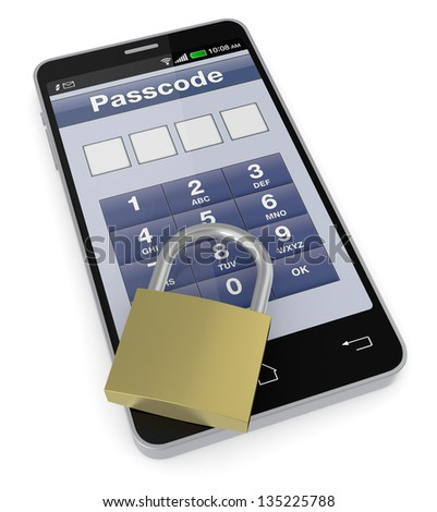 one cell phone with a security application and a padlock (3d render)