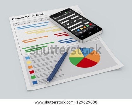 one cellphone with a project manager app and documents with gantt and financial charts (3d render)