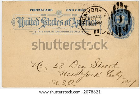 one cent US postcard with 1893 postmark and portrait of president Grant great aged look