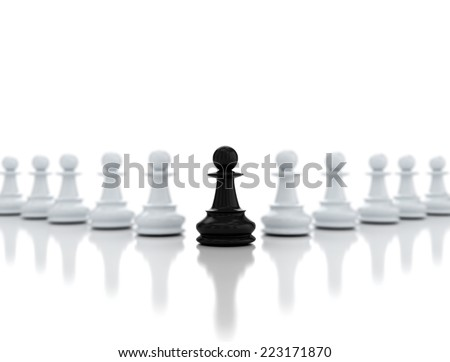 One chess pawn in the front  - stock photo