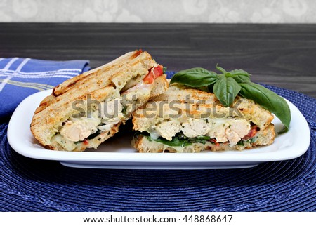 One chicken, cheese, basil, spinach, and pesto panini sandwich.