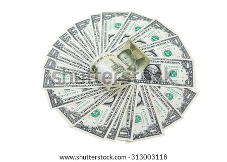 One Chinese yuan bank note on USA dollars background. Isolated with clipping path