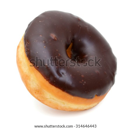 one chocolate donut isolated on white