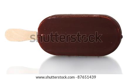 One chocolate vanilla ice cream isolated on white - stock photo