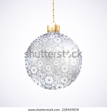 One Christmas silver ball with pattern on white background  - stock photo