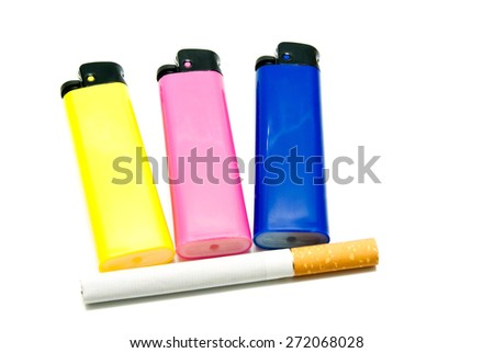one cigarette and three lighters closeup on white