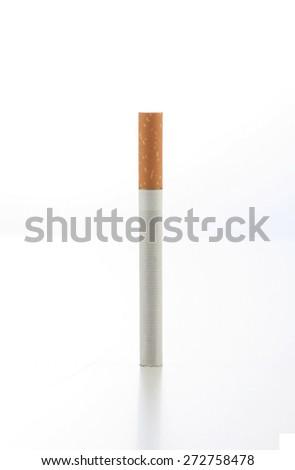 One cigarette on white background - stock photo