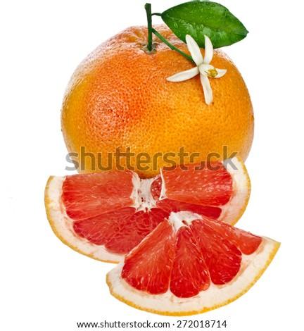 one citrus grapefruit  sliced detail close up isolated on white background - stock photo