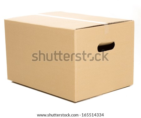 One closed carton box on the white background - stock photo