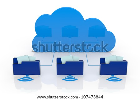 one cloud connected to three computer folders (3d render)